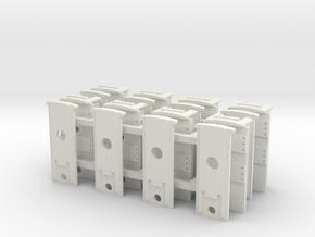 Protocraft Coupler Pocket - 4xP- w/Draft Gear Slot in White Natural Versatile Plastic