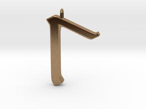 Rune Pendant - Lagu in Natural Brass