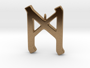 Rune Pendant - Mann in Natural Brass