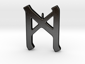Rune Pendant - Mann in Matte Black Steel