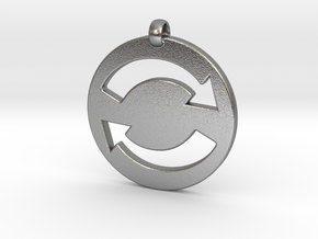 Refresh Sign Pendant, 3mm thick. in Natural Silver