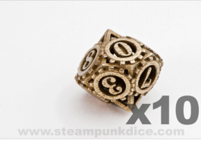 Steampunk Gear 10d10 Set in Polished Bronzed Silver Steel