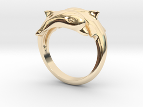 Dolphin Ring Size US 7  in 14K Yellow Gold