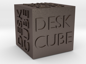 """""""Desk Cube"""" Cube in Polished Bronzed Silver Steel"""