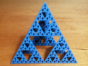 Geometric Sierpinski Tetrahedron level 4 in Blue Processed Versatile Plastic