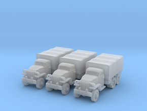 1/200 Studebaker 6x6 trucks (3) in Smooth Fine Detail Plastic