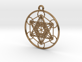 Metatrons Cube Pendant in Natural Brass