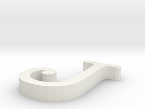 J Letter in White Natural Versatile Plastic