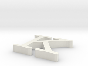 K Letter in White Natural Versatile Plastic