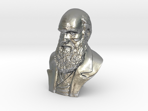 "Charles Darwin 3"" Bust in Natural Silver"