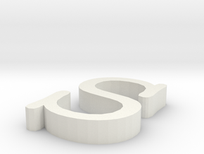 S Letter in White Natural Versatile Plastic