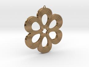 Flower Pendant 01 in Natural Brass