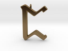Rune Pendant - Peorð in Natural Bronze
