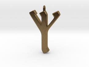 Rune Pendant - Eolh in Natural Bronze