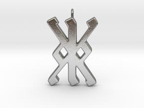 Rune Pendant - Kalc (kk) in Natural Silver