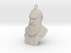 "Charles Darwin 1"" Bust, Pendant, Ear Ring, Charm,  in Natural Sandstone"