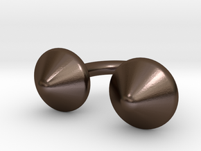 Awesome Button Ring in Polished Bronze Steel
