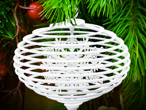 Spiral christmas ball with snowflake in White Strong & Flexible Polished