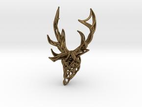 Deer Head Pendant in Natural Bronze