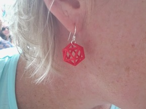 Icosahedron earrings in Red Strong & Flexible Polished