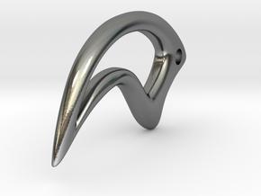 Deinonychus Claw Pendant in Polished Silver