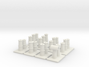 T008 Chimney Pots - 4mm Scale in White Natural Versatile Plastic