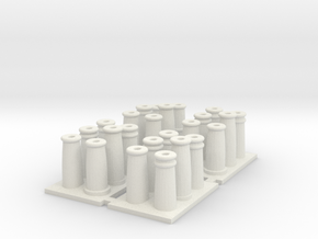 T019 SS Chimney Pots - 4mm Scale in White Natural Versatile Plastic