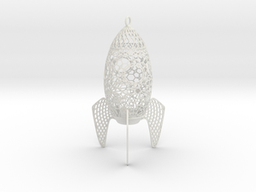Rocket Filigree Ornament in White Strong & Flexible