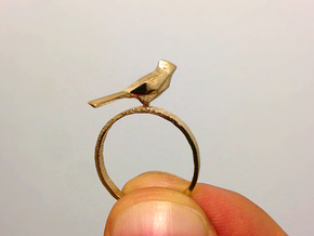 Poly-Bird Ring 5 in Natural Brass