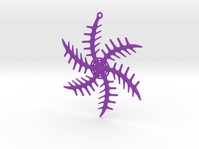 Ornament, Snowflake 001 in Purple Strong & Flexible Polished