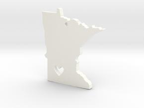 I Love Minnesota Pendant in White Processed Versatile Plastic