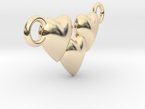 Love Three Hearts (Big Size Pendant) in 14K Yellow Gold