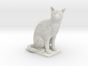 Curious Cat  in White Natural Versatile Plastic