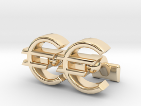 Euro Symbol Cuff-Links in 14K Yellow Gold