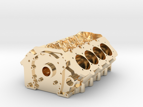 V8 Engine Block in 14K Yellow Gold