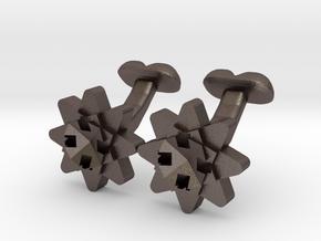 Cufflink Flower Range Geo-flower in Polished Bronzed Silver Steel