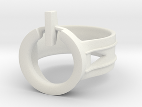 Power Ring Size 7 in White Natural Versatile Plastic