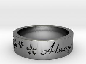 Sakura Always Remember Ring in Fine Detail Polished Silver