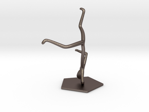 Breakdance Statue (updated) in Polished Bronzed Silver Steel