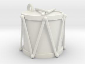 Ornament, Drum in White Natural Versatile Plastic
