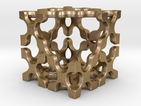 Open Cube 25mm in Polished Gold Steel