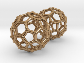 Buckyball Chemistry Molecule Earrings in Polished Brass
