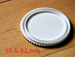 Double threaded lens cap: 62 and 55 mm in White Natural Versatile Plastic