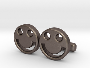"Happy Face Cufflinks, Part of ""Fun Loving"" Collect in Polished Bronzed Silver Steel"