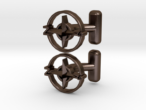 Compass Cufflinks, Part of the NEW Nautical Collec in Polished Bronze Steel