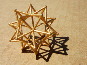 Stellated Icosohedron WireBalls - 3cm in Polished Gold Steel