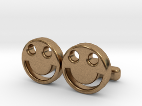 """Happy Face Cufflinks, Part of """"Fun Loving"""" Collect in Natural Brass"""