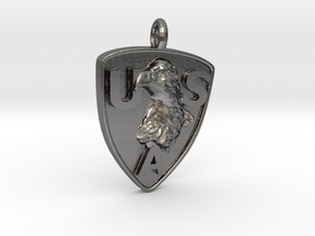 USA Patriot Charm in Polished Nickel Steel