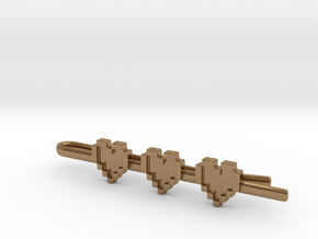 Legend of Zelda: Pixel Heart Tie Clip in Natural Brass
