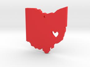I love Ohio Necklace in Red Processed Versatile Plastic